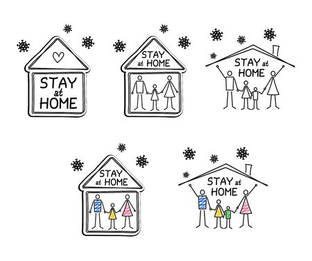 Stay at home lettering and family staying at home to reduce risk of infection and spreading the virus. Set of vector graphic images. Quarantine or self-isolation, protection campaign from coronavirus Stock Illustratie