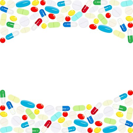 Arrière-plan avec une bordure horizontale de médicaments et de vitamines. Modèle de conception pour centre médical, pharmacie, hôpital. Concept de médecine, santé, soins de santé, service de santé, service médical. Vecteur Vecteurs