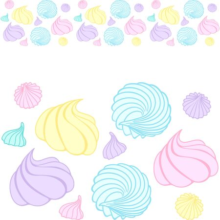 Seamless horizontal border of colorful meringue. Graphic vector image. Decorative elements. Design for cafe, sweet shop, pastry shop, confectionery, printing on packaging, paper, fabric, textile, menu