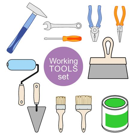 Set of working tools for repair and construction. Working tools of a house-painter. Vector decorative elements for design of construction store, repair tool store, repair center. Set for construction concept
