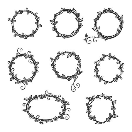 Set of decorative wreaths of twigs and flowers isolated on a white background. Vector floral frame for holiday greeting card, wedding invitation, banner, monogram, signage, labels and wedding frame. Design template Ilustracje wektorowe