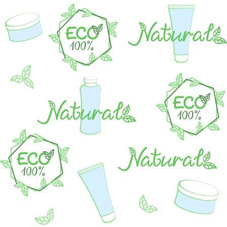 Eco, natural cosmetics background. Vector seamless pattern for natural cosmetics market, natural beauty care, eco friendly handmade product, printing on packaging. ECO, bio, organic, natural concept Ilustração