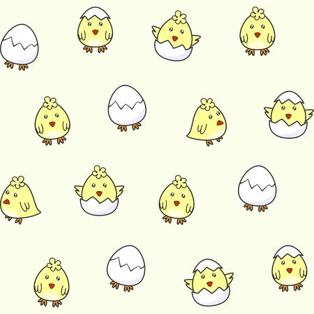 Cute chick hatching from an egg. Vector seamless pattern for Easter design, wrapping paper, printing on packaging, fabric, textile. Kids texture for wallpaper, prints, clothes. Decorative elements, design template
