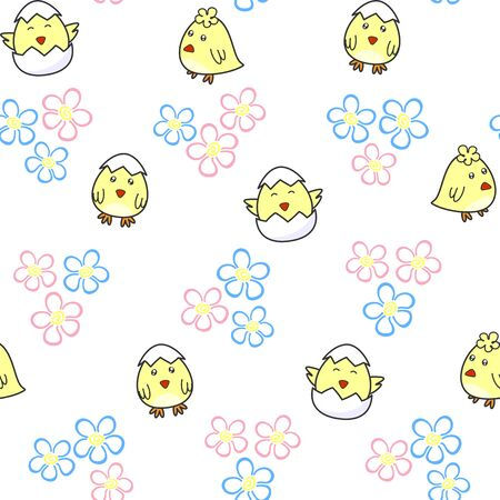 Cute chick hatching from an egg on a white background with florets. Vector seamless pattern Kids texture for wallpaper, prints, clothes, wrapping paper, printing on packaging, fabric, textile, Easter design