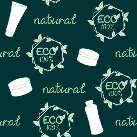 Dark green background with cosmetics. Vector seamless pattern for natural cosmetics market, natural beauty care, eco friendly handmade product, spa, printing on packaging, wrapper. ECO, health and beauty concept Ilustração