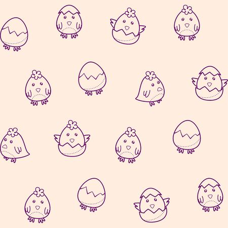 Seamless pattern with cute chick hatching from an egg. Vector childish background for wallpaper, prints, clothes, wrapping paper, printing on packaging, fabric, textile. Decorative elements for Easter design. Template