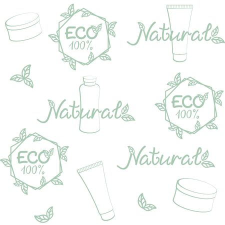 Eco, natural cosmetics background. Vector seamless pattern for natural beauty care, natural cosmetics market, eco friendly handmade product, printing on packaging. ECO, bio, organic, natural concept Ilustração