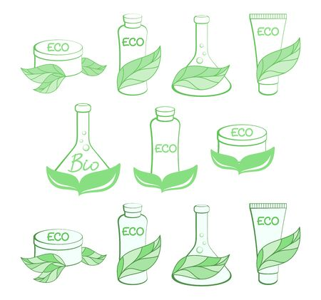 Set of Eco cosmetics icons, natural beauty care label, emblem, logo. Vector design element for natural cosmetics market, eco friendly handmade product. ECO, Bio, organic, natural cosmetic concept
