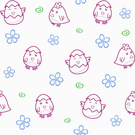 Seamless pattern with cute chick hatching from an egg. Vector childish background for printing on packaging, fabric, textile, wallpaper, prints, clothes, wrapping paper. Decorative elements, template for Easter design