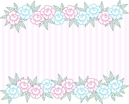 Festive pale pink striped background with horizontal flower border. Border of abstract blue and pink roses with leaves. Design template for holiday greeting card or banner. Wedding background 矢量图像