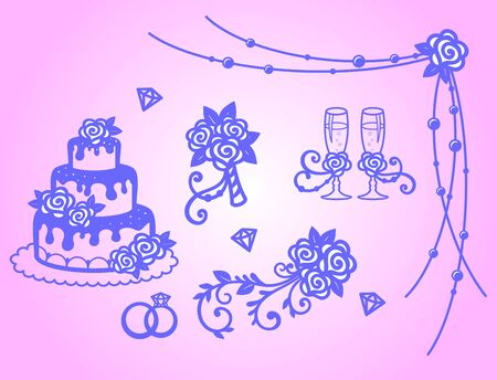 Set for wedding decor. Stemware, bride's bouquet, rose, wedding cake, wedding rings. Elements for decoration of holiday greeting card, invitation or banner. Vector graphic images Illusztráció