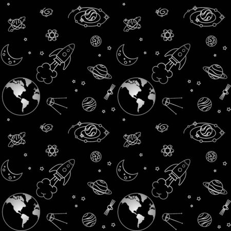 Gray earth, moon, satellites and rocket among different planets, galaxies and stars on a black background. Vector seamless pattern for kids wallpaper, wrapping paper, packaging, printing on clothes, fabric and textile. Design template