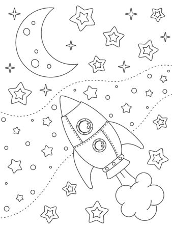 Coloring page with rocket, moon, nebulae and stars, black elements on a white background. Open space. Vector design template for kids coloring book, print and poster. Entertainment and recreation for children