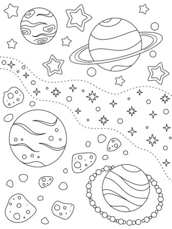 Coloring page with different planets, asteroids, nebulae and stars, black elements on a white background. Deep space. Vector design template for kids coloring book, print and poster. Entertainment and recreation for children