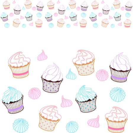 Seamless horizontal border of colorful muffins, cupcakes, meringue. Vector design template for bakery, sweet shop, pastry shop, confectionery, printing on packaging, wrapper, paper, menu, fabric, textile