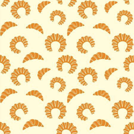 Croissants and bagels on a pale yellow background. Fresh pastry. Vector seamless pattern for bakery, store, cafe, printing on packaging, wrapper, paper, fabric, textile and menu. Design template