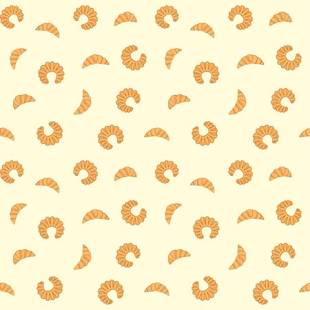 Fresh pastry. Croissants and bagels on a pale yellow background. Vector seamless pattern for bakery, store, cafe, printing on packaging, paper, fabric, textile and menu. Design template Çizim
