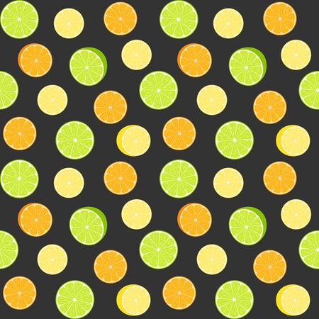 Colorful citruses, lime, lemon and orange slices on a black background. Vector seamless pattern, design template for wallpaper, wrapping paper, packaging, printing on fabric, textile, clothes and bags