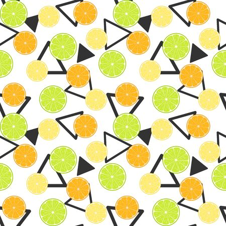 Colorful citruses, lime, lemon and orange slices on a white background with black triangles. Vector seamless pattern, design template for wallpaper, wrapping paper, packaging, printing on fabric, textile, clothes and bags