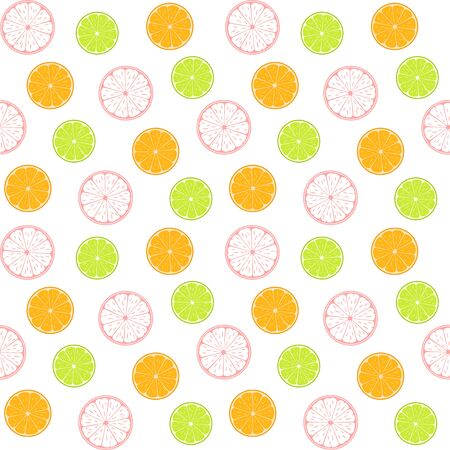 Colorful citruses, lime, orange and abstract grapefruit on a white background. Vector seamless pattern, design template for wallpaper, wrapping paper, packaging, printing on fabric, textile, clothes and bags