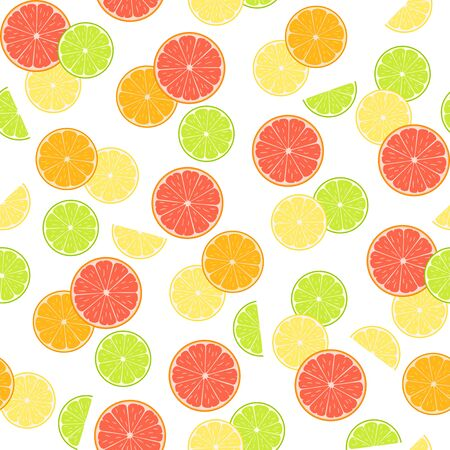 Colorful citruses, lemon, grapefruit, orange and lime on a white background. Vector seamless pattern, design template for wallpaper, wrapping paper, packaging, printing on fabric, textile, clothes and bags
