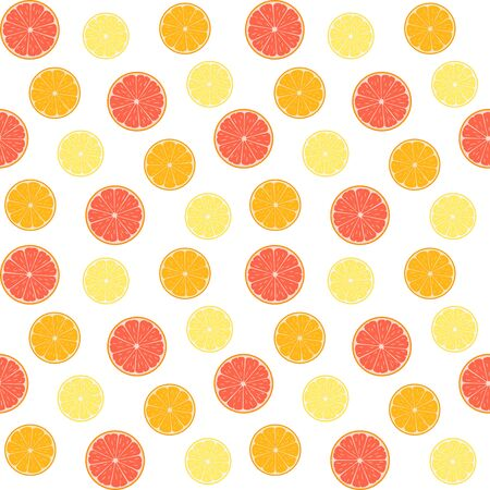 Colorful citruses, grapefruit, lemon and orange slices on a white background. Vector seamless pattern, design template for wallpaper, wrapping paper, packaging, printing on fabric, textile, clothes and bags