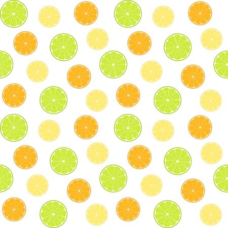 Lime, lemon and orange slices, colorful citruses on a white background. Vector seamless pattern, design template for wallpaper, wrapping paper, packaging, printing on fabric, textile, clothes and bags