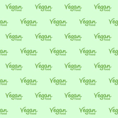 Vegan food hand lettering. Green lettering on a pale green background. Vector seamless pattern for food market, farm market, cafe, restaurant, printing on packaging, wrapper, fabric, textile and menu. Design template Illusztráció