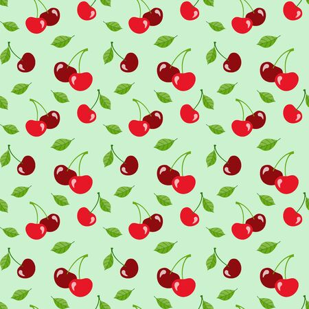 Red cherries with leaves on a pale green background, flat style. Vector seamless pattern for wrapping paper, packaging, wallpaper, printing on fabric, textile, menu, clothes and bags. Design template