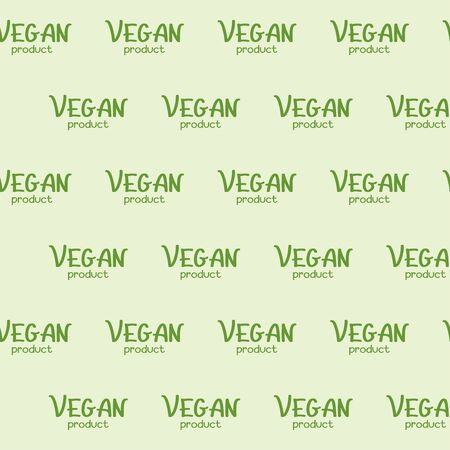 Vegan product hand lettering. Green lettering on a beige background. Vector seamless pattern for food market, farm market, cafe, restaurant, printing on packaging, wrapper, fabric, textile and menu. Design template
