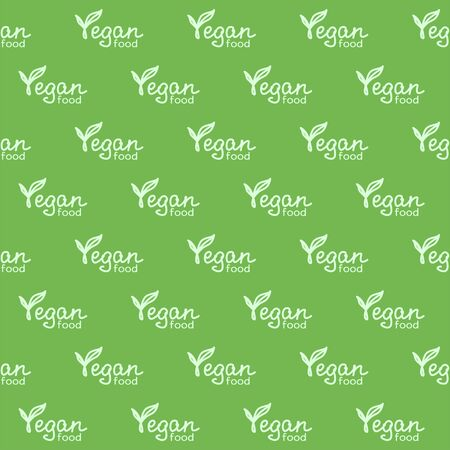 Vegan food hand lettering. Pale green lettering on a green background. Vector seamless pattern for food market, farm market, cafe, restaurant, printing on packaging, wrapper, fabric, textile and menu. Design template Illusztráció