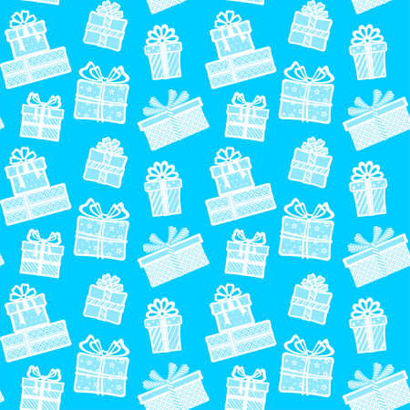 White gift boxes with different patterns, ribbons and bows on a blue background. Vector seamless pattern for festive design, Christmas wallpaper, banner, wrapping paper, packaging, wrapper and print