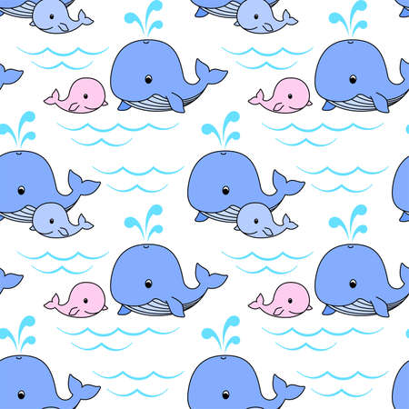 Mother whale and baby whale swim on the waves, blue and pink whales on a white background. Vector seamless pattern for wrapper, wrapping paper, packaging, kid's wallpaper, printing on fabric, clothes