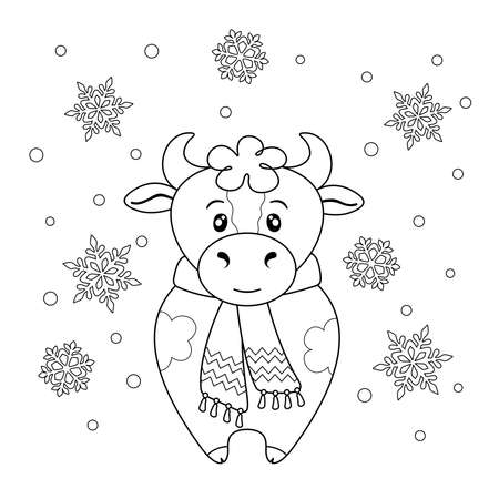 Coloring page with cute spotted bull in scarf and snowflakes. Black elements on a white background. Entertainment and recreation.