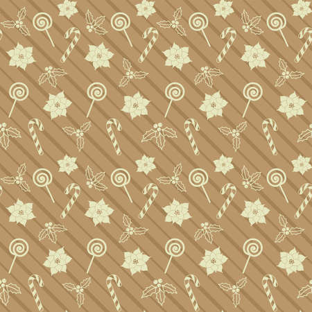 Candy cane, lollipop, mistletoe, Christmas Holly berries and poinsettia on a striped beige background. Vector seamless pattern for festive design, Christmas and New Year wallpaper, banner, packaging 版權商用圖片 - 156794148