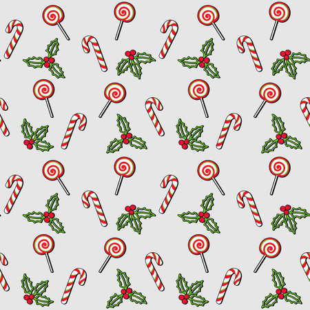 Lollipop, candy cane, mistletoe and Christmas Holly berries on a gray background. Vector seamless pattern for festive design, Christmas or New Year wallpaper, banner, gift wrapping, packaging, wrapper 向量圖像