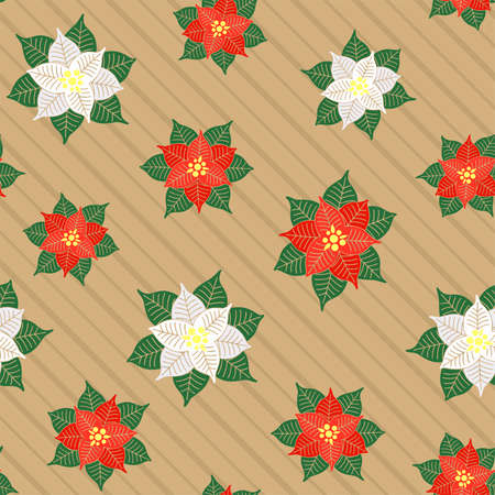 Red and white poinsettia flowers on a striped beige background. Christmas symbol. Vector seamless pattern for festive design, Christmas or New Year wallpaper, banner, packaging, gift wrapping, wrapper
