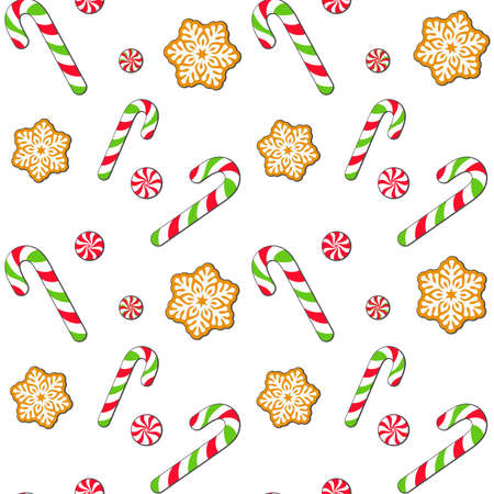 Christmas treats, candy canes, cookies, gingerbread, sweets on a white. Vector seamless pattern for festive design, Christmas and New Year wallpaper.