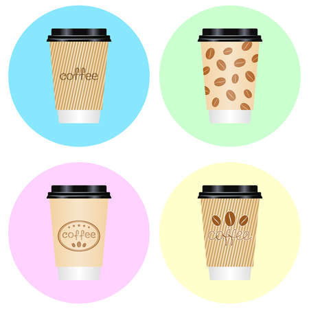 Paper coffee cups with coffee beans and hand lettering. Coffee to go paper cups, hot drink. Vector set for coffee house, coffee shop, packaging, wrapper, sales flyer, banner, logo, label and signboard