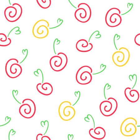 Red and yellow abstract fruits and berries on a white background. Vector seamless pattern for kid`s wallpaper, wrapping paper, packaging, printing on fabric, textile, clothes and bags. Design template 向量圖像