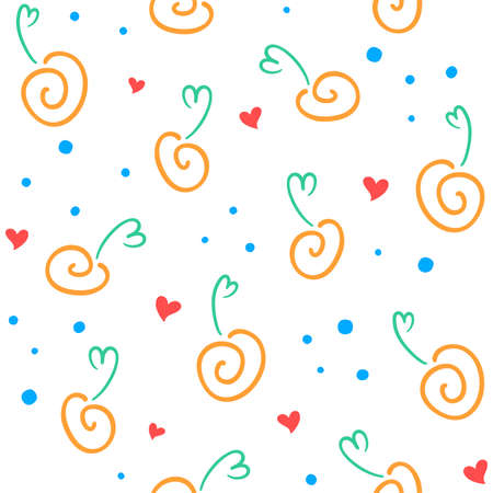 Abstract fruits and berries outline, hearts and small circles on a white background. Vector seamless pattern for kid`s wallpaper, wrapping paper, packaging, printing on fabric, textile, clothes or bag