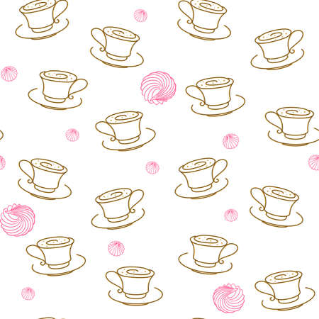 Cups of tea or coffee and meringues on a white, outline. Vector seamless pattern for packaging, wrapper, wrapping paper, sales banner, cafe, restaurant, cafeteria, printing on fabric, textile and menu