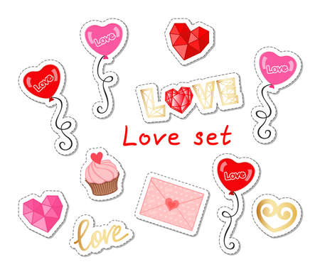Love set with balloons, hearts, lettering, cupcake and letter on a white background. Vector patches, stickers for Valentine's day, wedding, holiday greeting card, love concept, print. Design template