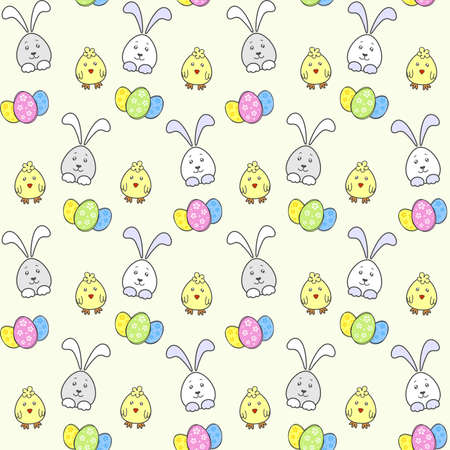 Cute Easter Bunny, chick and Easter colorful eggs. Vector seamless pattern for Easter holiday wrapping paper, printing on holiday packaging, fabric and textile. Decorative elements for Easter design Иллюстрация