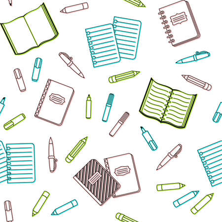 Colorful school supplies and office stationary on a white background. Vector seamless pattern for banner, poster, office supply store, website and wrapping paper. Back to school and education concept