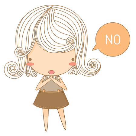 say: The illustration of cute girl say no