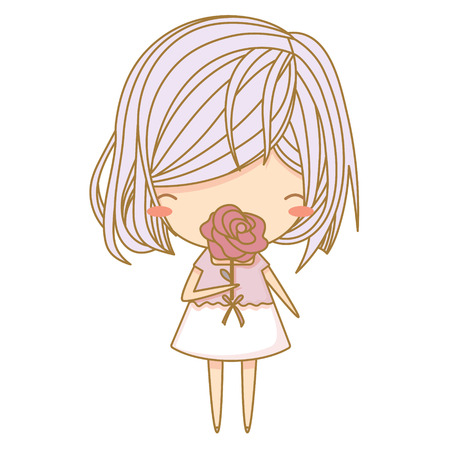 Cute little girl in purple dress sniffing rose flower. Vector illustration, character design. Isolated with white background Illustration