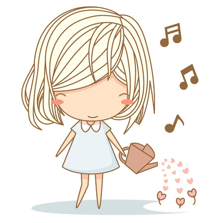 Cute girl watering heart flower while sing a song. Vector illustration, character design Ilustração