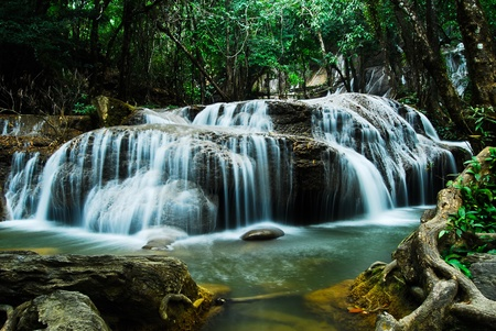 Waterfall in forest  photo