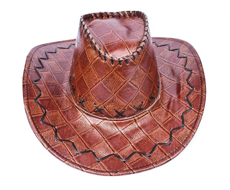 Brown leather hat isolated on white  Traditional hat for all american cowboys  Stock Photo - 12759645